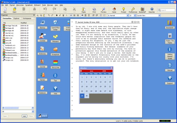 Writer's Cafe for Mac OS X full screenshot
